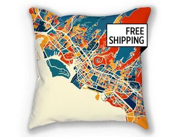 Honolulu Map Pillow - Hawaii Map Pillow 18x18