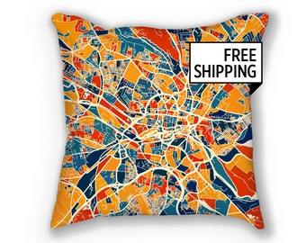 Leeds Map Pillow - Yorkshire Map Pillow 18x18