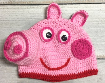 Peppa Pig Crochet Hat,Daddy Pig, Mummy Pig, George Pig Available on request.