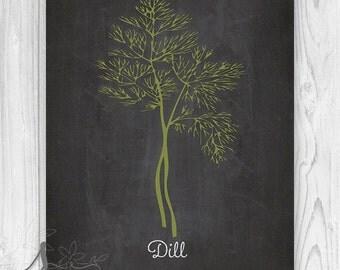 Dill herb Culinary Art Print, Chalkboard Kitchen Wall Art, Kitchen Herb Poster, Kitchen Chalkboard Herb Art Print