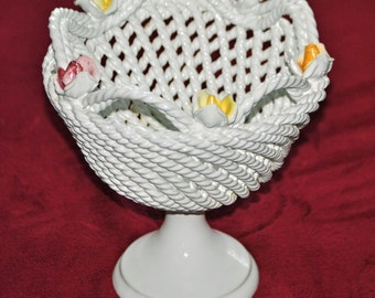 Vintage White Capidomonte  Pedestal Bowl with Roses