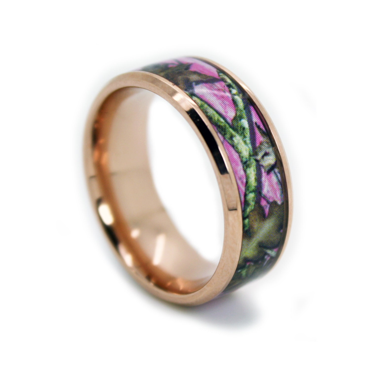 Pink Camo Wedding Rings: Pink Camo Wedding Rings By ONE CAMO Rose Gold Ring Beveled
