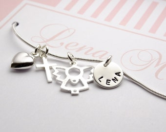 Name necklace engraved christening necklace guardian angel cross with personalized jewelry box