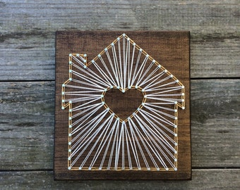 Home With Heart Handmade Rustic Wood String Art Sign