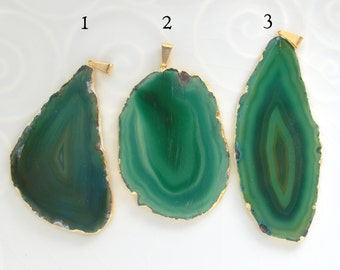 Gold Plated Agate Pendant, Greenl Agate Slice, Agate Pendant, A3/16
