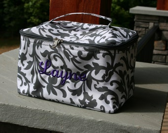 Personalized Large Cosmetic Bag Gray Floral Monogrammed Make Up Case