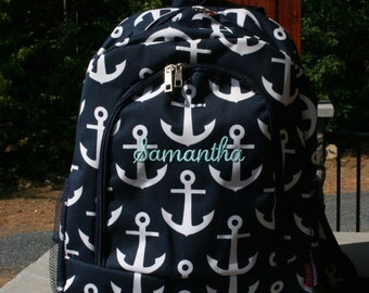 Monogram Backpack Navy Anchor Personalized Bookbag