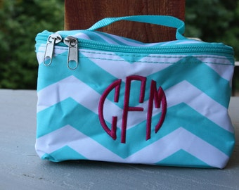 Girls Monogrammed Small Cosmetic Bag Personalized Make Up Bag Aqua Chevron