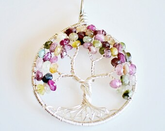 Tree Of Life Pendant - Handmade Sterling Silver with Multicolor Tourmaline