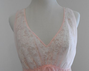 SALE Vintage pink nylon nightgown with lace - Sears, Roebuck, and Co