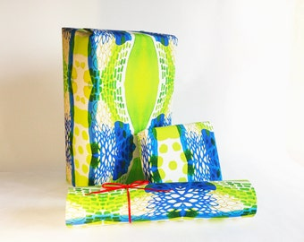 gift wrapping printed paper roll SPRING blue green 24x33 inch A1 size - set of 3