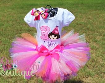 Dora Birthday Tutu Set - Birthday Tutu Set Personalized