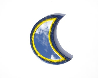 YELLOW-BLUE MOON Mirror,Decorative Wall Mirror,Moon Mirror,Yellow Moon,Blue Moon,Half Moon,Wall Hanging Mirror