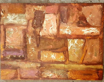 Abstract Painting: Sandstone - Mixed Media Collage by Anthony Huss