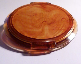 Lucite MAVCO compact  Plexiglass flapjack powder compact 1940s pancake compact mirror