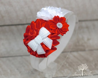 Red and White Christmas Headband - Red and White Headband- Christmas Headband - Valentines Day Headband - Baby Headband - Adult Headband