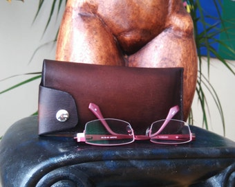 Leather eyeglass case, Handmade, hand stitched, genuine, dark brown, glasses