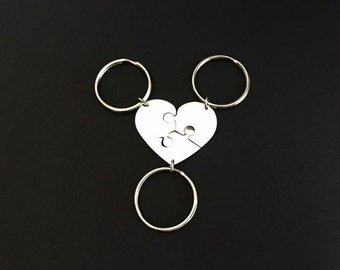 Stainless Steel Heart Puzzle Key Chains. 3 Puzzle Key Chain Set. 3 Best Friend Gift. 3 Sister Key Chain Set. Personalized Friendship Gift.