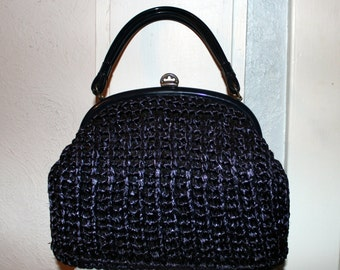 Vintage 1950's Blue Woven Raffia Purse/Handbag
