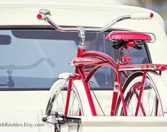 Vintage Red Bicycle - Memorabilia - Vintage White Truck - 8x12 -Red - Off White - Fpoe