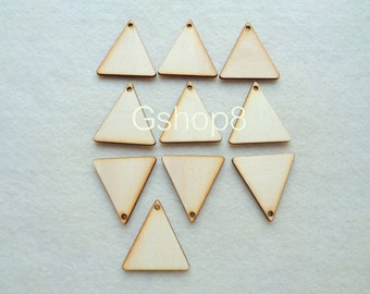 10 Wood Triangles Ready to be Painted, Unfinished Wood Triangles Tile for Jewelry, Geometric Jewelry,