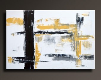 """48"""" Large ORIGINAL ABSTRACT Yellow Gray Black White Painting on Canvas Contemporary Abstract Modern Wall Art Office decor - Unstretched-YG17"""