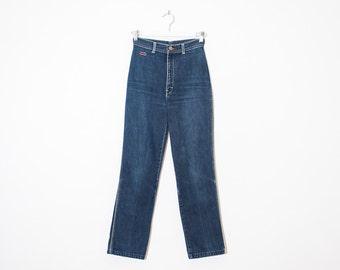 on sale - high waist straight leg jeans / blue dark wash worn denim / size 23