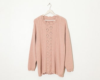 on sale - light pink textured sweater / long sleeve cable knit pullover / size XL