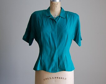 vintage 1940s emerald green silk blouse