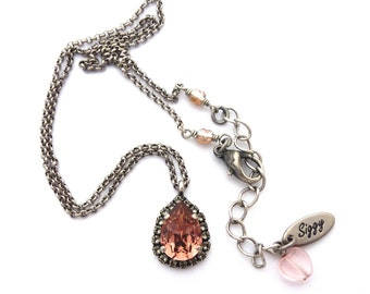 Swarovski Crystal Pear Pendant Necklace, Blush Pink, Black Diamond Halo, Victorian Style, Pave Teardrop, Gift For Her, FREE SHIPPING