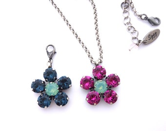 Swarovski Crystal Flower Pendant, Multi-Stone Daisy, 8mm Crystal, SELECT-A-COLOR, Available On a Chain Or Detachable Clasp, FREE Shipping