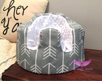 Grey Arrow and White Minky Bumbo Seat Cover