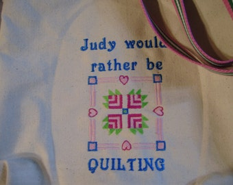 Free personalizing Awesome  Would Rather Be Quilting machine embroidered tote
