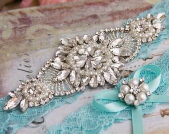 Aqua Blue Wedding Garter set, Bridal Garter set, Blue Lace Garter set, Rhinestone Garter, Blue Garter, Something Blue Crystal Garter set