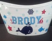 Nautical Theme Basket,  Oval Easter Tub, Sand Bucket, with  whale, starfish