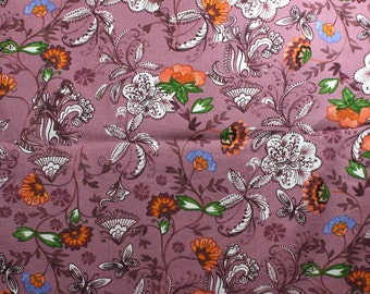 SALE - Flowers on Mauve Cotton Home Dec Fabric - One Yard - 44 Inch Wide Home Decor Fabric