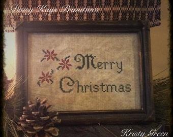Primitive Christmas Stitchery | Primitive Christmas Sampler | Primitive Christmas Decor | Primitive Cross Stitch | Poinsettia  Stitchery |
