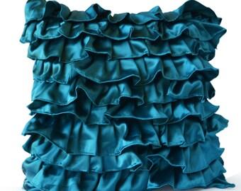 Teal Satin Ruffle Pillow - Decorative pillow - Teal Ruffle throw pillow - Ruffle throw cushion - 16x16 pillow - gift