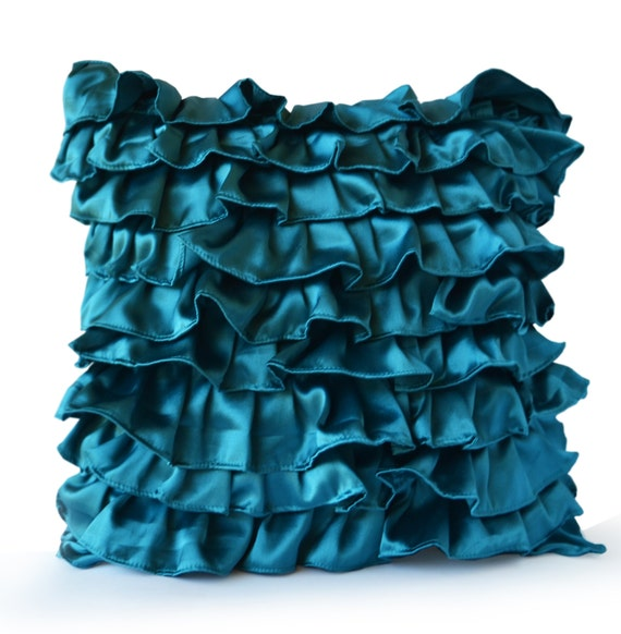 Teal Decorative Bed Pillows : Items similar to Teal Satin Ruffle Pillow - Decorative pillow - Teal Ruffle throw pillow ...
