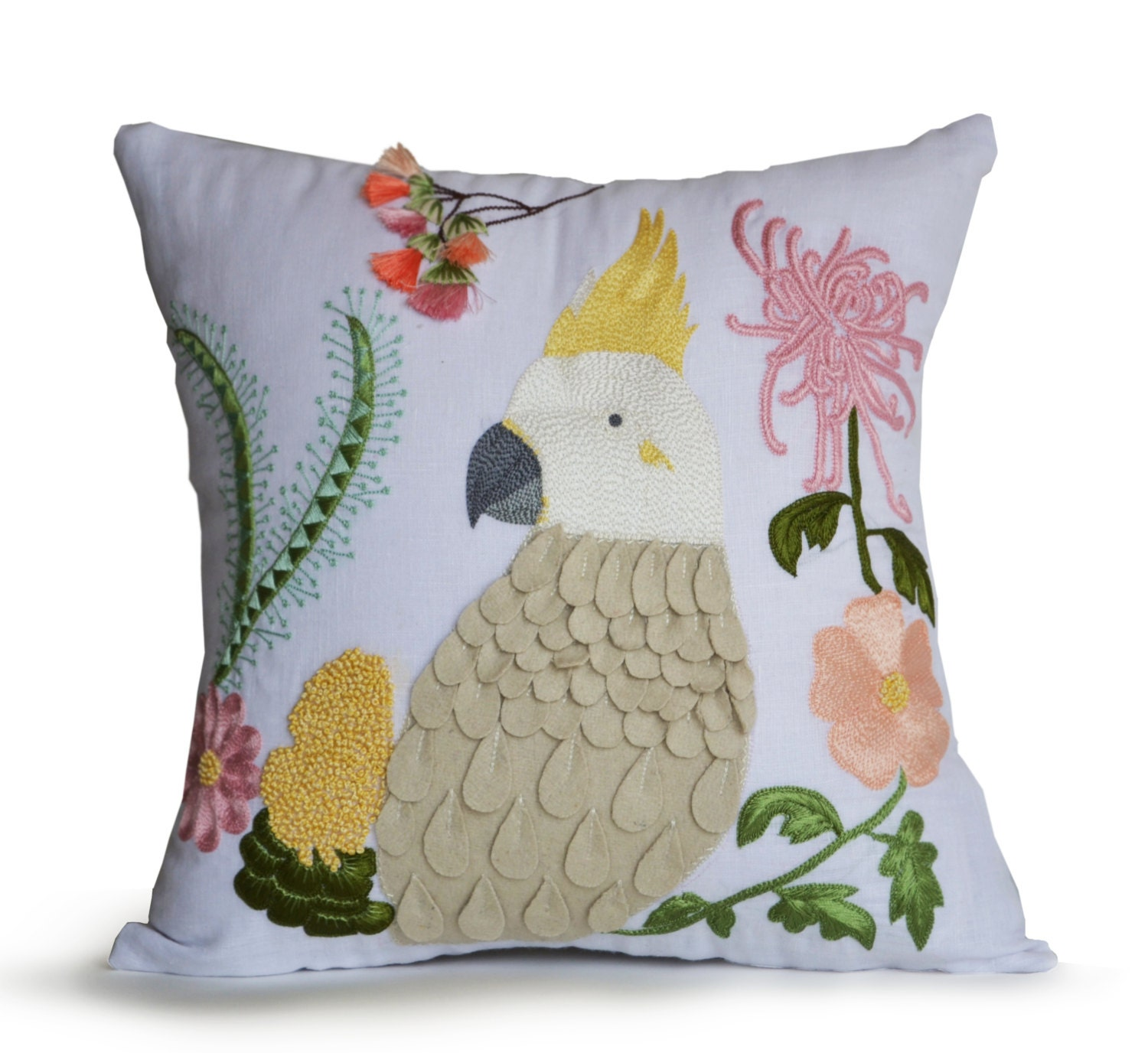 Newport Throw Pillows Birds : Throw Pillow Cover Decorative Pillow Bird Pillows Pink