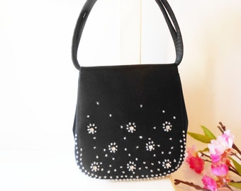 Black Evening Bag with Sparkly Rhinestones Glamorous Handbag EB-0731