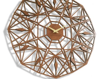 "19"" Sapphire Wall Clock, Large. Laser Cut, Mid century, modern, minimal, Geometric, Unique, Wood, Wall Art, Decor."