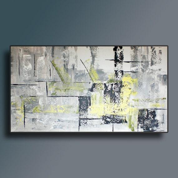 48 white gray black yellow green original abstract by editvorosart. Black Bedroom Furniture Sets. Home Design Ideas