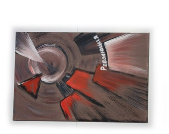 """REVOLUTION constructivism industrial small Original Painting Abstract Art 47 Midcentury Modern by KSAVERA 8""""x12"""" Little paintings on canvas"""