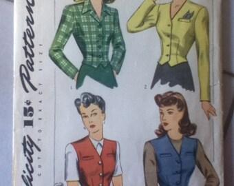 "Vintage Simplicity  Vest & Jacket Pattern 4749  Size: 14,  Bust 32"", Waist 26"""
