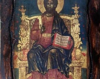 Jesus Christ - Enthroned - Orthodox Byzantine icon on wood handmade (22.5cm x 17cm)