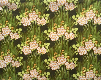 Piece of floral cotton upholstery/curtain fabric late 70s early 80s