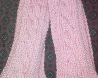 Hand knit pink cabled merino wool scarf