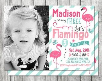 Photo Flamingo Beach Birthday Invite - Beach Party Invite - Swim Party - 5x7 JPG (Front and Back Design)