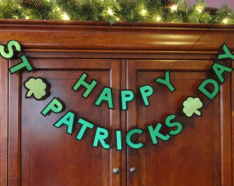 Felt & Satin St Patrick's Day Banner-St Patrick's Day Banner-Happy St Patrick's Day Banner-St Patrick's Day Decoration-St Patty's Day Party